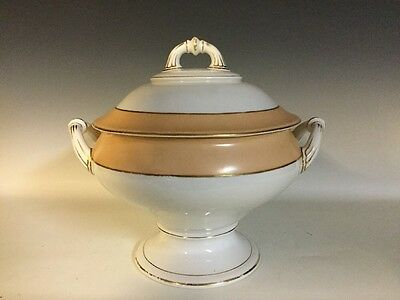 Large Old Paris Porcelain Covered Footed Round Tureen, Rope Finial 19th century