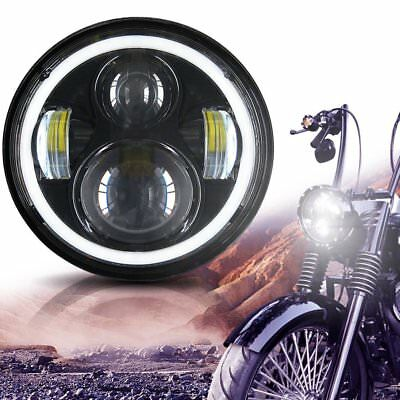 "5-3/4"" 5.75inch Round Cree LED Headlight Angel Eye DRL H/L for Harley Davidson"