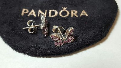 Pandora Disney Minnie's Sparkling Bow Stud Sterling Silver Earrings. S925 ALE