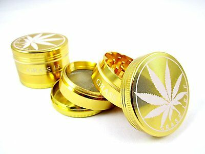 4 part 40mm  Aluminium  gold GRASS LEAF  Tobacco Grinder