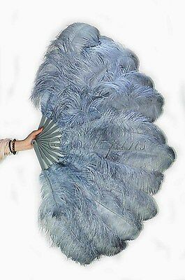 "Dark grey 2 layers Ostrich Feather Fan  30""x 54"" with gift box Burlesque dance"