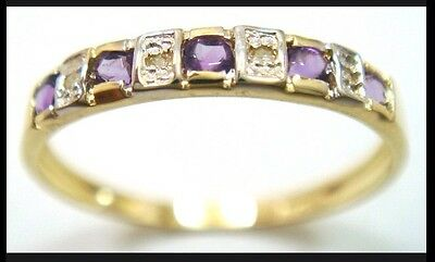 Amethyst and Diamond, 9CT Gold Band Ring. Authentic, Genuine.