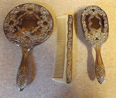 Silver Plated - Dressing Table Set - Mirror, Comb & Brush - A/F