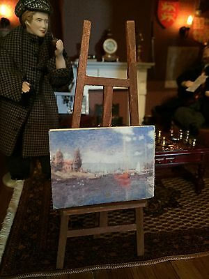 Dolls House Miniature 1:12 Accessory Painting And Easal Realistic Xmas