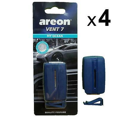 4 x Areon Vent 7 MY OCEAN Air Freshener Car Taxi Scent Fragrance Aroma Perfume