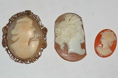 Vintage Antique Cameo Brooch Pendant Plus 2 Others As Found