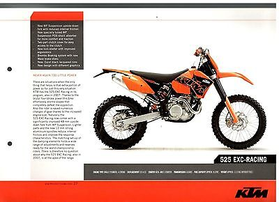 KTM 525 EXC-RACING Offroad Motorcycle Brochure / Leaflet 2006 7597E
