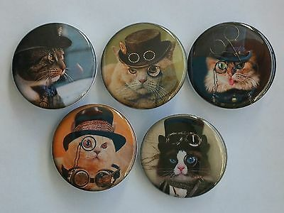 """Lot of 5 1.25"""" Pinback Button Steampunk Cats (1¼"""" Pins, Approx. 32mm) #1"""