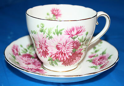 Adderley Fine Bone China England Tea Cup Saucer White Pink Carnation
