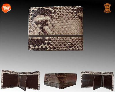 Mens leather wallet genuine leather in Box bi fold snake pattern wallet as gift