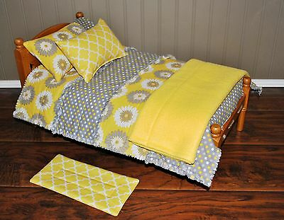 6 pc Doll Bedding Set to Fit American Girl or Similar Bed