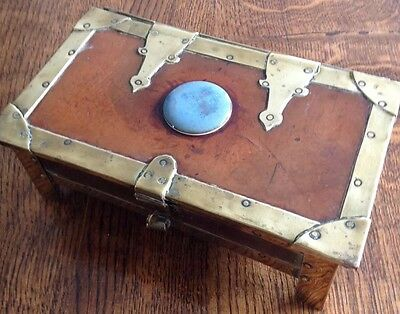 Antique Arts And Crafts, Probably Newlyn, Brass And Wood Trinket Box.