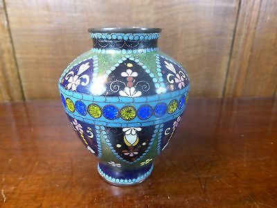 ANTIQUE JAPANESE MEIJI Cloisonne 9.5cms VASE with GOLDSTONE - very fine work