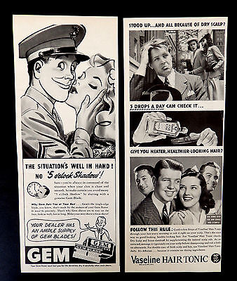 Vintage 1943 Gem Razor Blade & Mens Hair Tonic advertisement print ad art.