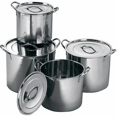 4 Pc Stainless Steel Large Catering Cooking Stock Pot Pans With Handles & Lids