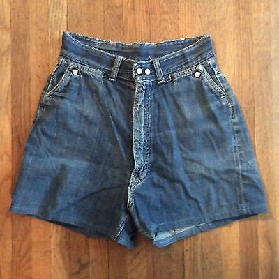Vintage 1950s High Waisted Womens Jean Shorts Buckaroo Gal Big Smith Pearl Snap