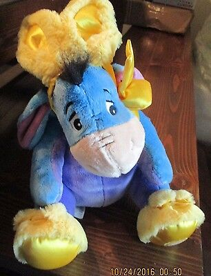 Disney Store Exclusive EASTER BUNNY EEYORE Plush Soft Yellow Slippers Ears *