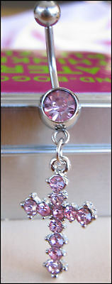 316L Steel PINK Rhinestone CROSS Belly Bar FREE POST