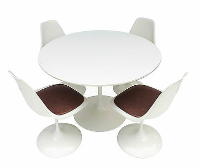 Mid-Century Knoll Saarinen Burke Style Tulip Base Dining Table 4 Swivel Chairs