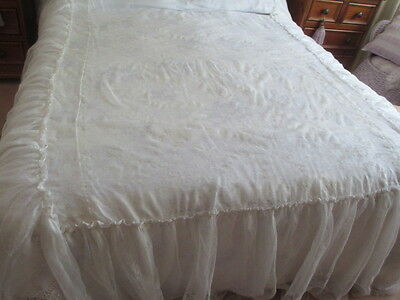 Vintage Taffeta Lined Lace Double Bed Quilt From Europe