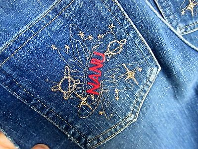 sz 12 True Vtg 1980s Girls 22x29 MORK FROM ORK DENIM POCKET DISCO RELIC JEANS
