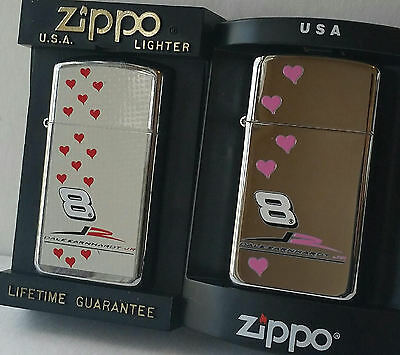 Zippo Lighter Dale Earnhardt JR. #8 Slim Line HIS AND HERS Happy Valentines Day