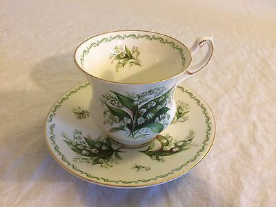 2pc Set Rosina China Queens Special Flowers Lily of the Valley Tea Cup & Saucer