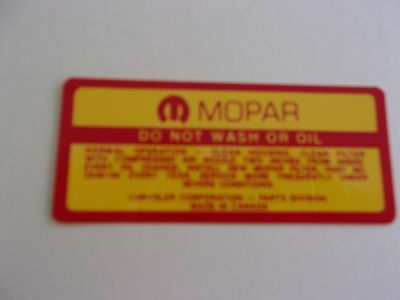 Mopar 1969 - 1971 Fresh Air  Air Cleaner Service Decal