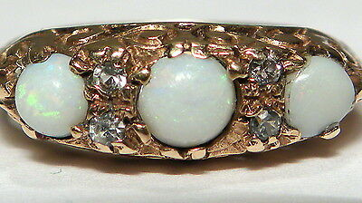Antique REAL 9ct GOLD Natural Opal Trilogy Paste Vintage Ring B'ham 1967