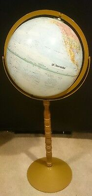 "33"" Tall  Globemaster World Globe 12 "" Diameter On Wood Stand"