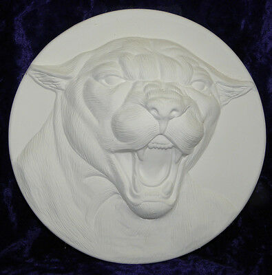 """Ceramic Bisque Ready to Paint Cougar Panther Plate 8"""""""