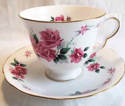 Vintage Queen Anne Bone China Tea Cup and Saucer Set Mid Century Pink Rose