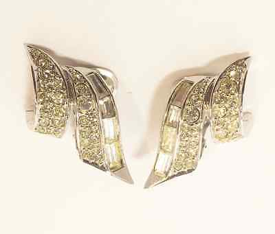 Vintage Boucher Silver Rhinestone Clip On Earrings Signed Vintage 1950s