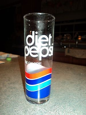 1985 Diet Pepsi Cola One Calorie Tall Skinny Drink Glass Cup Set Of  (8)