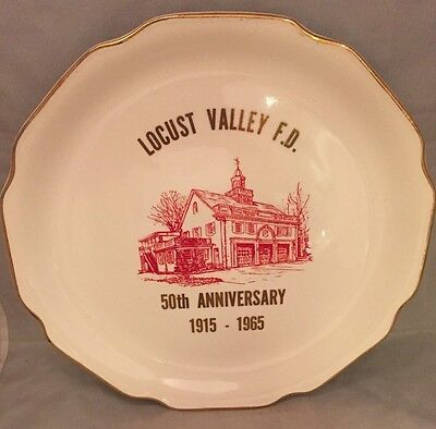 Vintage Locust Valley Fire Department 50th Anniversary 1965 Commemorative Plate