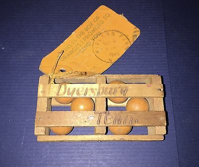 Vintage 1943 Souvenir Miniature Wooden Crate Oranges Dyersburg Tennessee Shipped