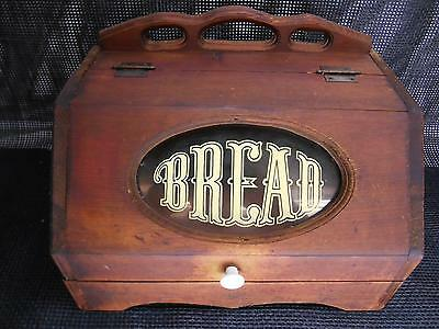 Antique Wood BREAD BOX Glass Painted Front Woodenware Old Vtg Kitchen Decor