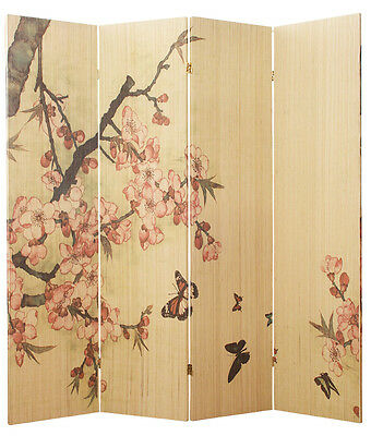 4 Panel Bamboo Cherry Blossom Screen / Room Divider