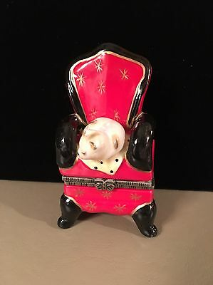 Porcelain Cat On A Red Chair Trinket Box