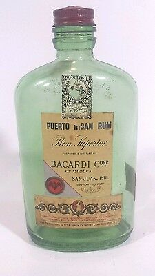 Antique Rare Bacardi Puerto Rican Rum Empty Bottle 1930s After Prohibition Time
