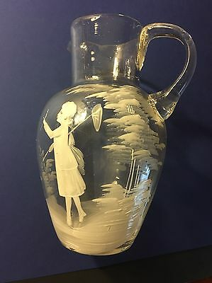 Antique MARY GREGORY Hand Painted Clear Art Glass Pitcher 6 inch