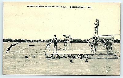 Postcard Boy Scouts BSA Swimming Indian Mound Reservation IMR Oconomowoc WI R01