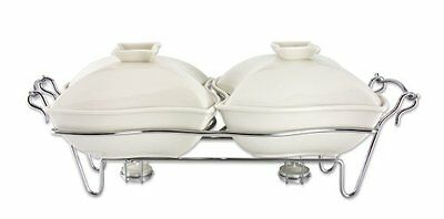 Godinger Ceramic Double Warmer Chafing Dish with Serving Stand