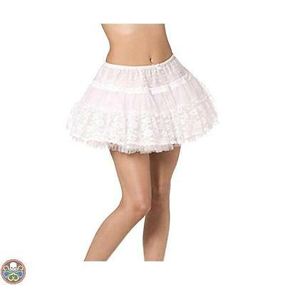 Smiffys Tg: One Size White Fever Boutique Lace Petticoat Nuovo