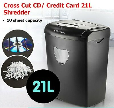 21L Paper Shredder ElectricCross Cut Home Office 10 A4 Sheets Credit Cards CD