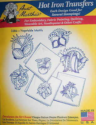 "Aunt Martha's Hot Iron Transfer # 3286 "" Vegetable Motifs """