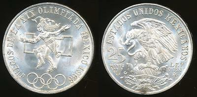 Mexico, United States, 1968 25 Pesos (Silver) - Choice Uncirculated