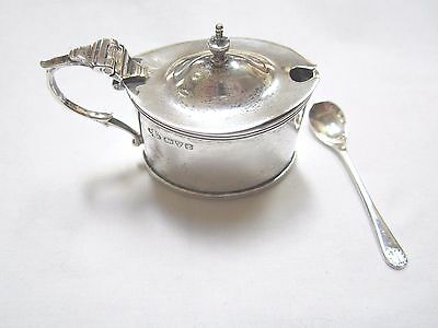 Jay Richard Attenborough Sterling Silver Mustard Condiment Pot W/ Spoon