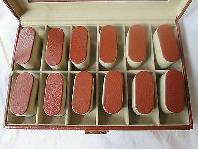 Brown Leather Watch Box Display Case 12 Slots Glass Top Vintage