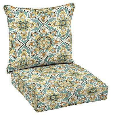Teal Moroccan Outdoor Deck Patio 2-Piece Deep Chair Chaise Lounge Cushions Set